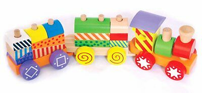 SALE Wooden Colourful Patterned Stacking Train for Children Kids Educational Toy