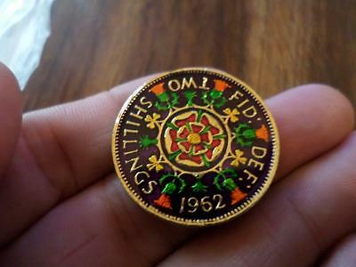Vintage Enamelled Two Shilling Coin 1962. Birthday Present. Xmas Christmas Gift