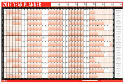 2017 A1 Laminated Yearly Wall Planner Calendar Wipe Dry Pen & Sticker Dots- 3805