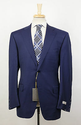 New. CANALI Blue Herringbone Wool 2 Button Suit Size 58/48 R $1895