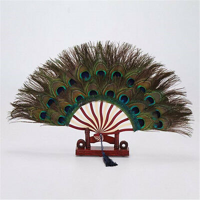 "Peacock Eyes Double sizes Feathers Fans ""11 x 19.6 inch"" Decorative and perform"