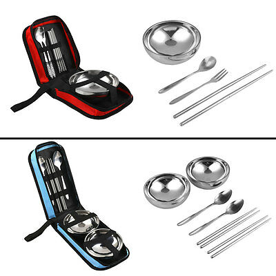 Portable Stainless Steel Spoon/Fork/Bowl Pocket Outdoor Travel Tableware Set