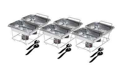 Disposable Party Catering Tailgate Food Warming Tray Set Chafing Fuel 24-pc Set