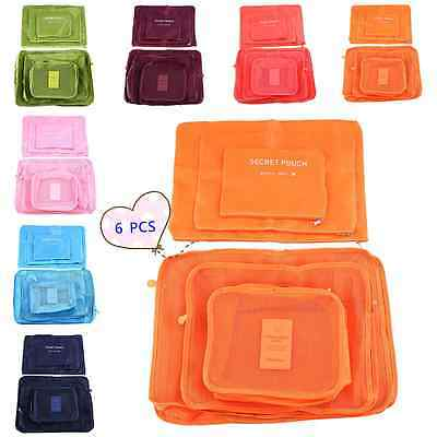 6Pcs Clothes Storage Bags Packing Cube Travel Clothing Organizer Pouch 7Color