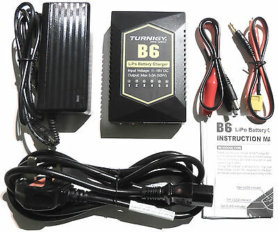 Turnigy B6 Auto LiPo Balance Charger 5A 50w 2-6s + UK Cable Power Supply