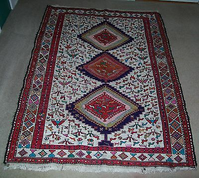 Vintage Persian Hand Knotted Weaved Oriental Rug Iran or Saudi Pictorial Birds