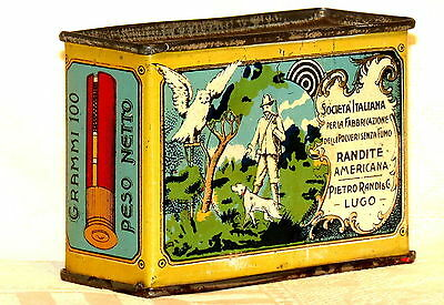 Italian Randite Dog Hunting Gun Powder Tin 1920s