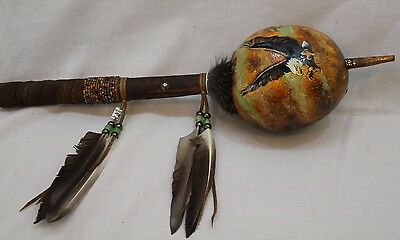 Hand Painted Flying Eagle Indian Dance Style Decorated Gourd Rattle #28169-2