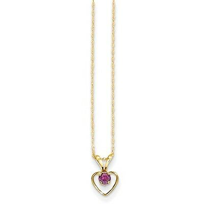 14k Yellow Gold 15in Children's 3mm Rhodalite Garnet Heart Birthstone Necklace