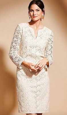 Talbots Ivory Trellis Fl Lace Shift Dress 10p 199 Retail New Nwot