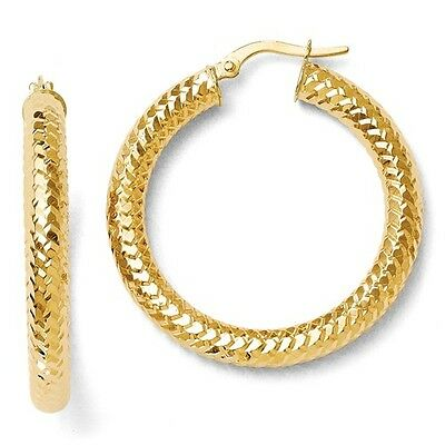 14k Yellow Gold 4mm ForeverLite Polished/Textured Hoop Earrings (1.2IN Diameter)
