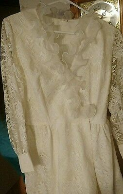 Victorian Dress White Floral Lace With Tiered Ruffle