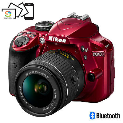 Nikon D3400 24.2 MP DSLR Camera w/ AF-P DX 18-55mm VR Lens Kit (Red)