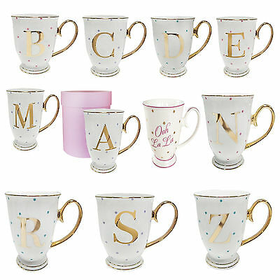 Bombay Duck Alphabet Spotty Mugs Monogram Gold Letter with Spots in Gift Box UK