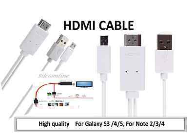 MHL Micro USB to HDMI Cable For Samsung Galaxy S3/S4/S5 For Note 2/3/Note 4(WHT)
