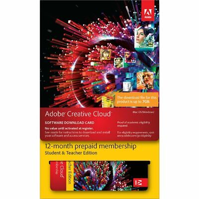 Adobe Creative Cloud Education Edition 12 Month Card