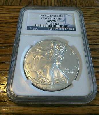 2013 W Silver Eagle Burnished Early Release NGC MS70 low mintage