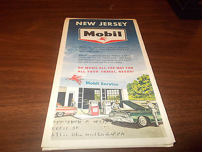 1964 Mobil New Jersey Vintage Road Map