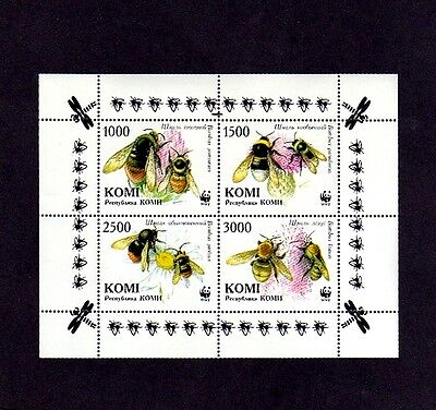 Komi - 1999 - Wwf - Bees - Honey Bees & Flowers - Insect - Mint Perf S/sheet!