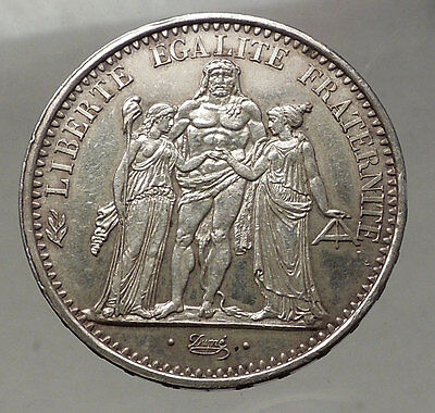 1967 FRANCE -Large 10 FRANCS Authentic French Silver Coin HERCULES Motto i57747