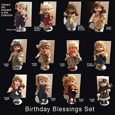 "Precious Moments 12"" Soft Dolls: BIRTHDAY BLESSINGS 12 Doll Set #1352-1362"