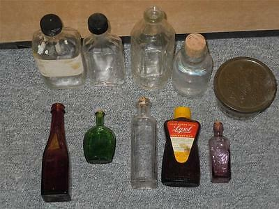Lot of 10 Small Miniature Advertising Glass Bottles Green Purple Vintage Antique