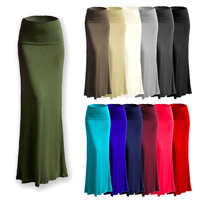 c0a5dba50 Women's Rayon Span Stretch Flared Maxi Long Skirt (Size: S - 3X) AS1025