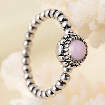 Women Fashion Round Cut Pink Sapphire 925 Sterling Silver Ring Wedding Jewelry