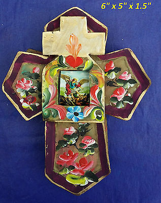 Purple Tin Cross 3D Mexican Handmade Painted Milagro 6x4.5x1.5 St. Michael Roses