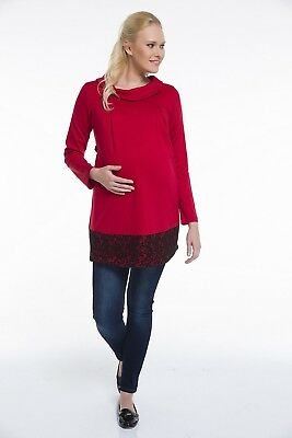 NEW Pullover Maternity Knit Blouse Maternity Sweater Size 38 - 44 Red