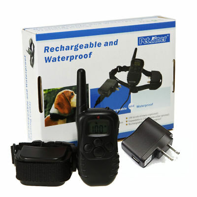 300M Rechargeable Waterproof LCD 100LV Shock Vibra Remote Dog Training Collar