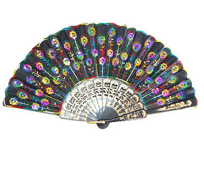 Spanish Embroidered Cloth Folding Hand Fans Flowery Silk fan