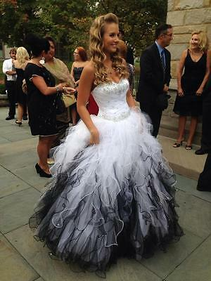 Black And White Quinceanera Dress Formal Sweetheart Wedding Party Prom Ball Gown