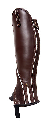Borraq Xtreme Brown Leather and Suede Gaiters with Beige Piping & Reflective