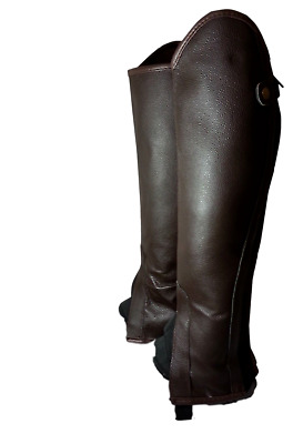 Borraq Brown Leather Gaiter with Elastic Gusset and Top Fastener