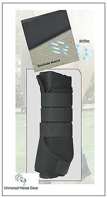 Set of 4 Borraq Full Black Horse Breathable Stable Boots