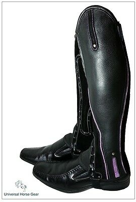 Borraq Xtreme Black Leather and Suede Gaiters with Purple Piping and Reflectors