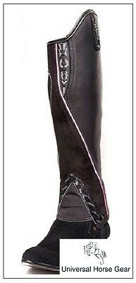 Borraq Xtreme Black Leather and Suede Gaiters with Pink Piping and Reflectors