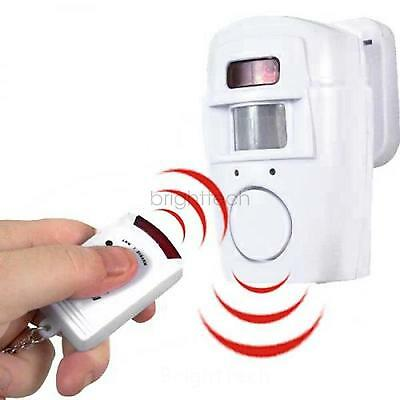 105dB Motion Sensor Detector Alarm Wireless IR Infrared Remote Home Security Sys