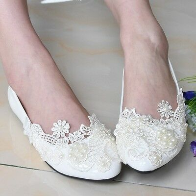 Bridal Lace Wedding Shoes Pearl Beaded Flats Bridesmaid Women Prom Party Shoes