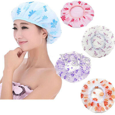 1/2/5x Pcs Women Fashion Waterproof PE Shower Bathing Cap Make Up Hair Hat LOT