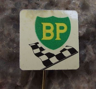 Antique BP British Petrol Oil Energy Company Chequered Flag Racing Pin Badge