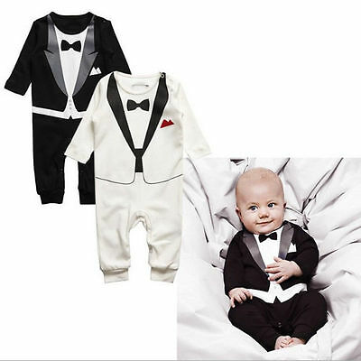Newborn Baby Boy Girl Jumpsuit Romper Bodysuit Formal Tuxedo Suit Infant Outfits