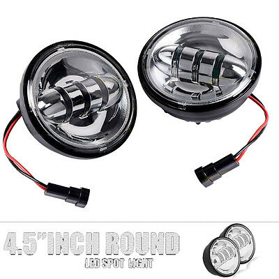 Pair Chrome 4.5 inch LED Auxiliary Fog Driving DRL Light for Harley Motorcycle