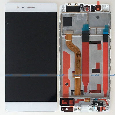 White Huawei P9 Standard EVA-L09 LCD Display Touch Digitizer Assembly + Frame
