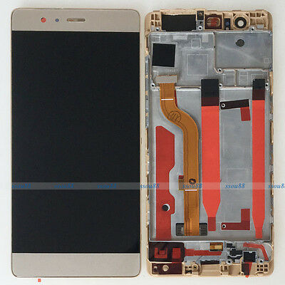 Gold Huawei P9 Standard EVA-L09 LCD Display Touch Digitizer Assembly + Frame