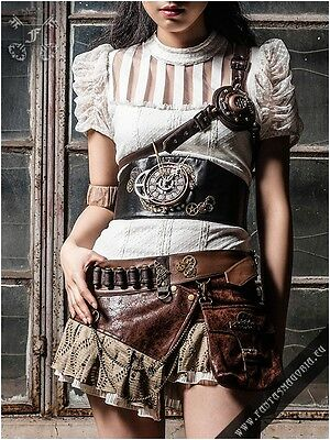 Gothic Steampunk Cyber Goth Clockwork Belt Corset Time Piece Mechanical
