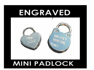 Custom ENGRAVED Inscribed Mini Collar Lock, Padlock BDSM Slave Bondage Engraving