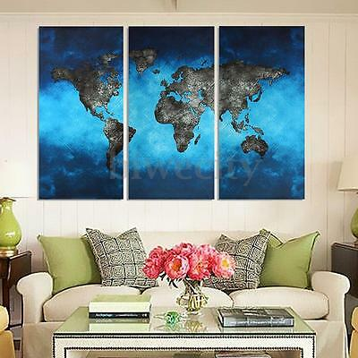 3Pcs Blue World Map Picture Canvas Painting Modern Wall Decor 40x80cm Unframed
