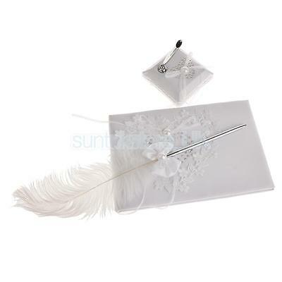 Wedding Heart Flower Reception Guest Book Feather Bowknot Pen and Stand Set